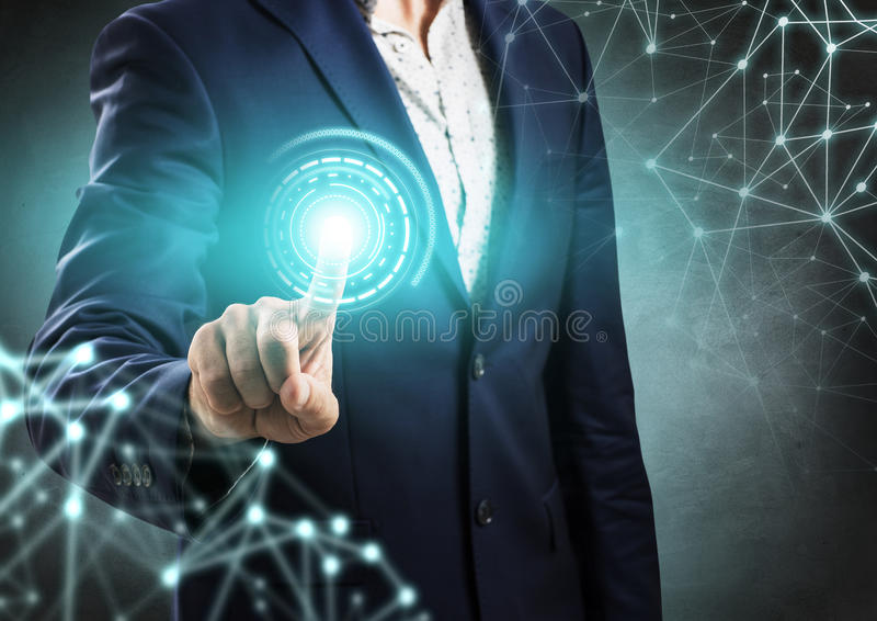 Businessman point on digital blue light. Businessman point on blue light over digital connection dots. Network connection concept stock photo
