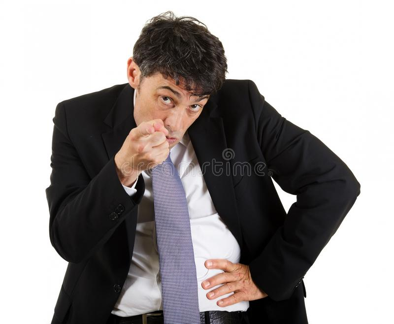 Businessman pointing an accusatory. Finger at the camera identifying and blaming the viewer, upper body portrait isolated on white stock images