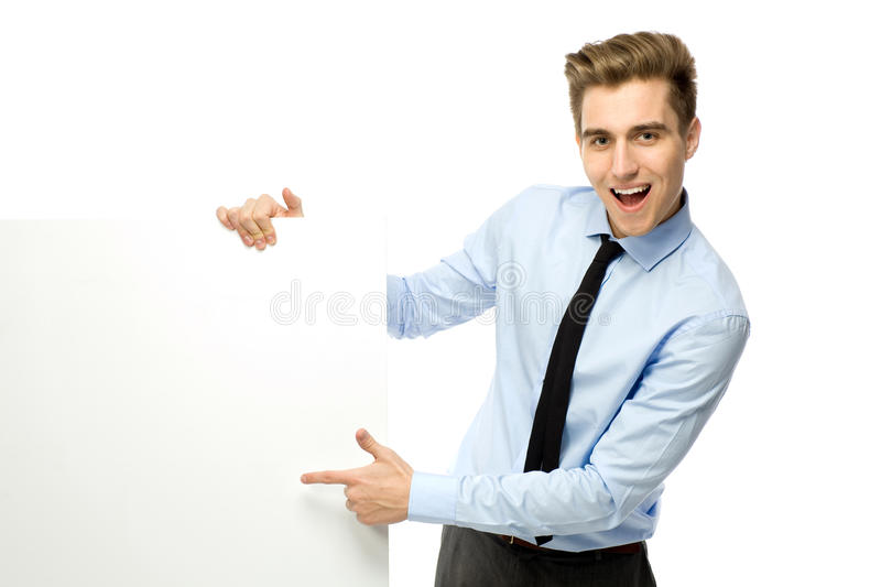 Download Businessman Pointing At Blank Poster Stock Image - Image of hand, caucasian: 23715125
