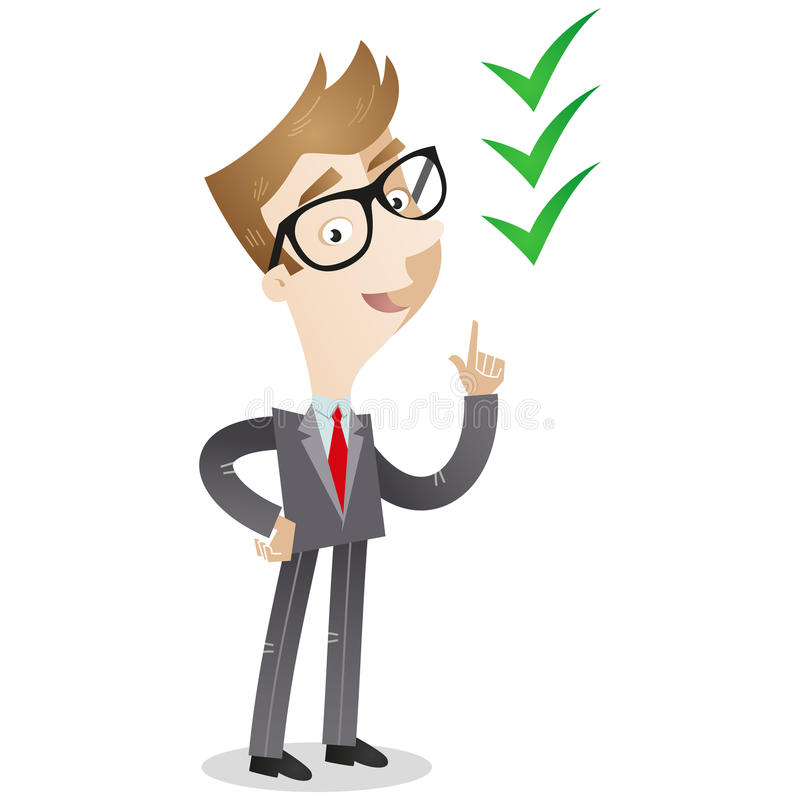 Businessman pointing at check marks stock illustration