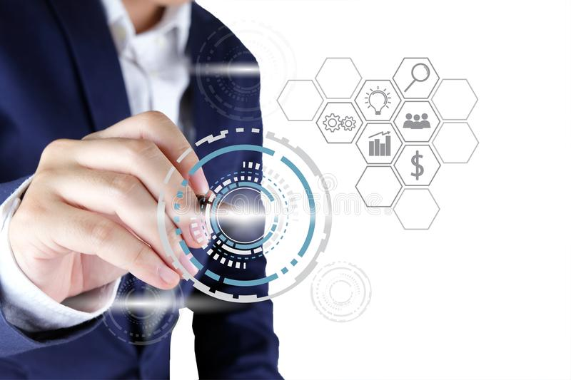 Businessman pointing a circle tech with line icon of business st stock image