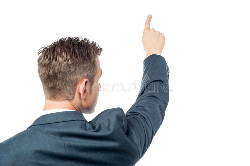 Businessman pointing copy space royalty free stock image
