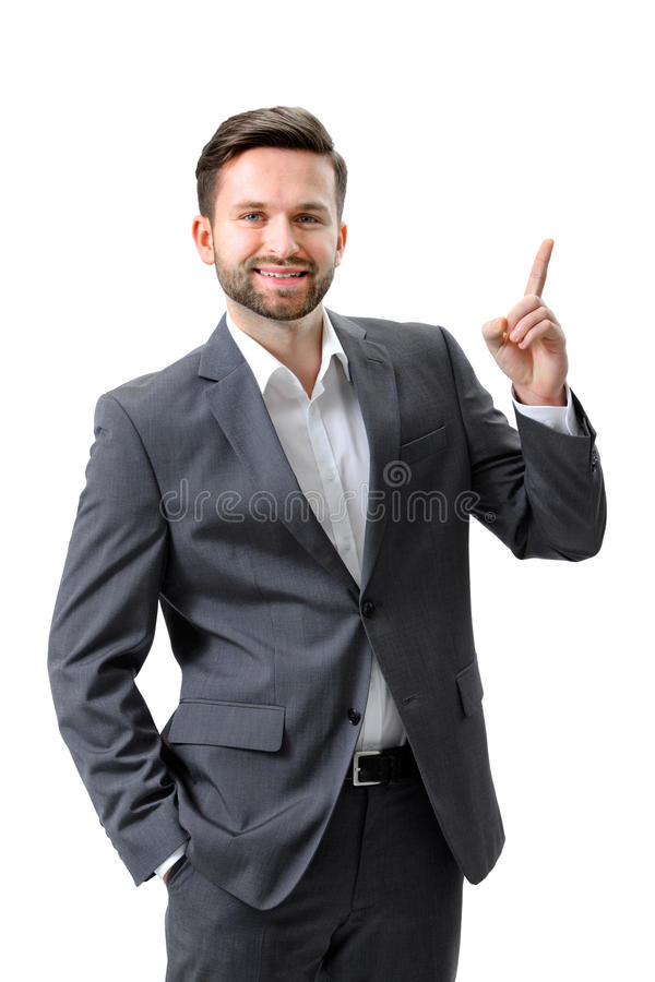 Businessman pointing copy space stock image