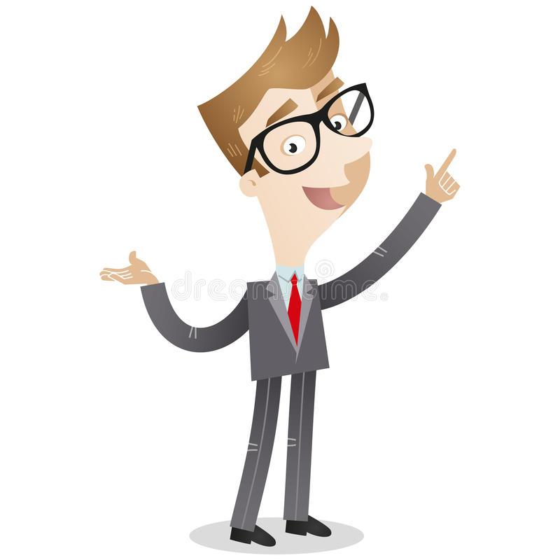 Businessman pointing and explaining. Vector illustration of a cartoon businessman pointing and explaining stock illustration