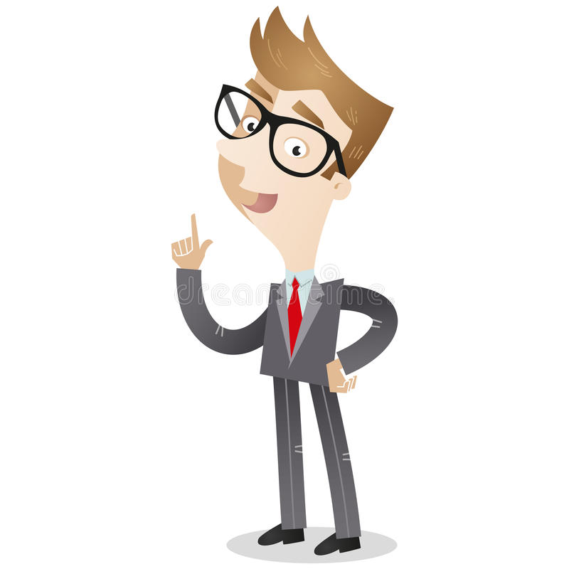 Businessman pointing and explaining. Vector illustration of a cartoon businessman pointing and explaining royalty free illustration