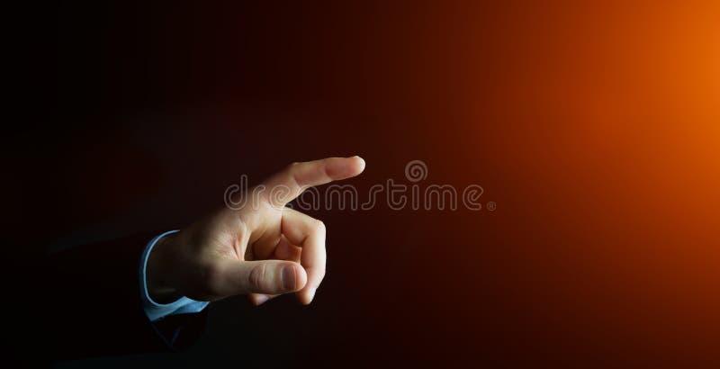 Businessman pointing finger stock illustration