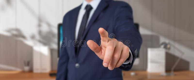 Businessman pointing finger royalty free illustration