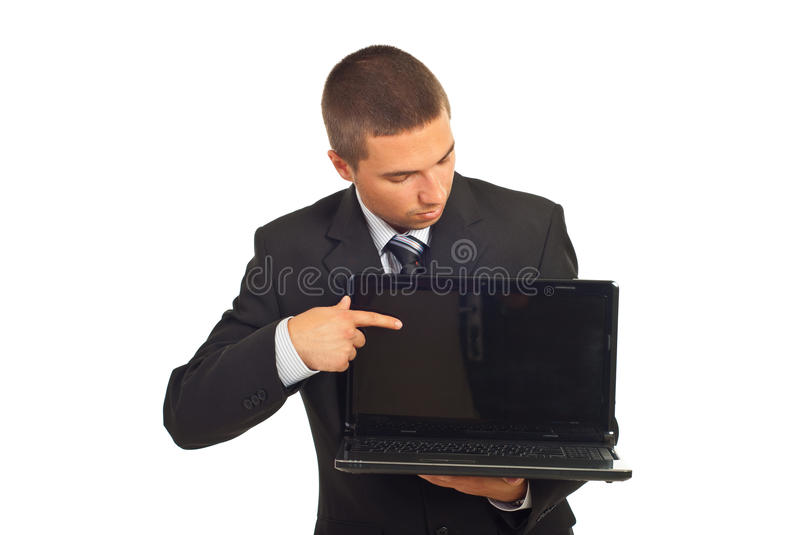 Businessman Pointing And Looking To Laptop Screen Stock Images