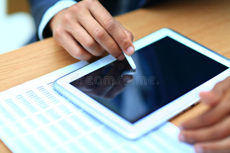 Businessman Pointing On Modern Digital Tablet Royalty Free Stock Photography