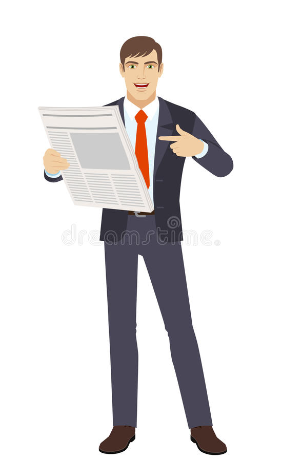 Businessman pointing at newspaper royalty free illustration