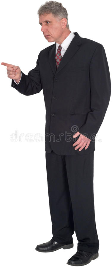 Businessman Pointing, Points, Standing, Isolated royalty free stock photography