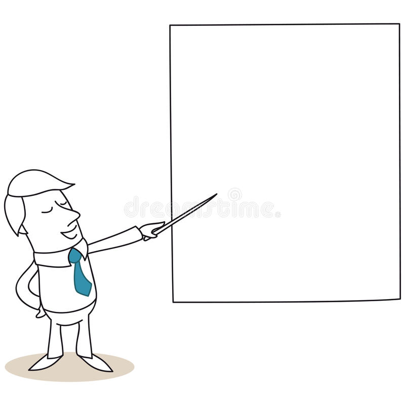 Businessman pointing at screen stock illustration