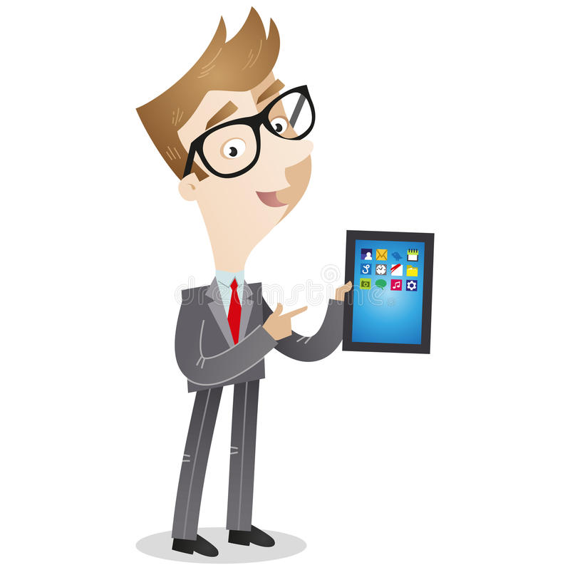 Businessman pointing at tablet pc royalty free illustration