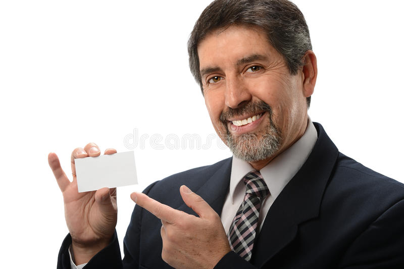 Businessman Pointing to Business Card royalty free stock images