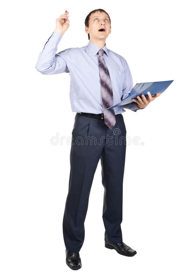 Download Businessman pointing up stock photo. Image of caucasian - 18571932
