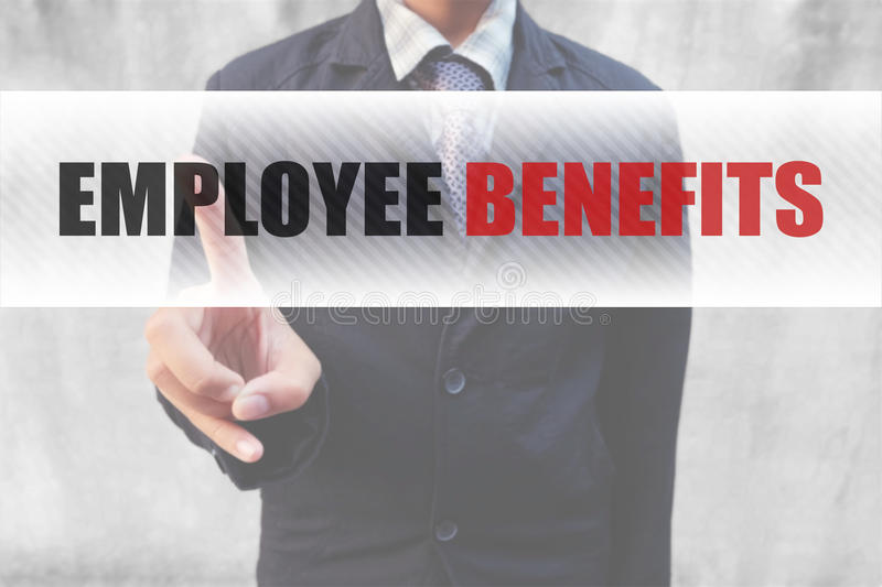 Businessman pointing word Employee Benefits royalty free stock photos