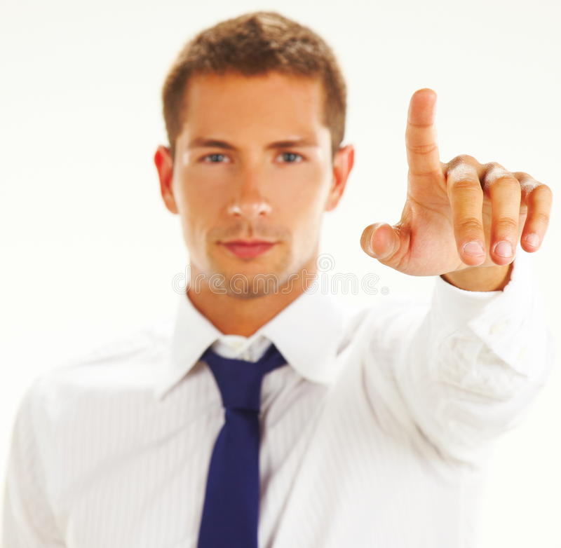 Businessman pointing at you stock images