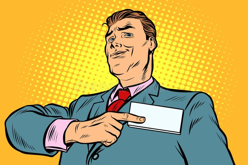 Businessman points at a name badge id vector illustration