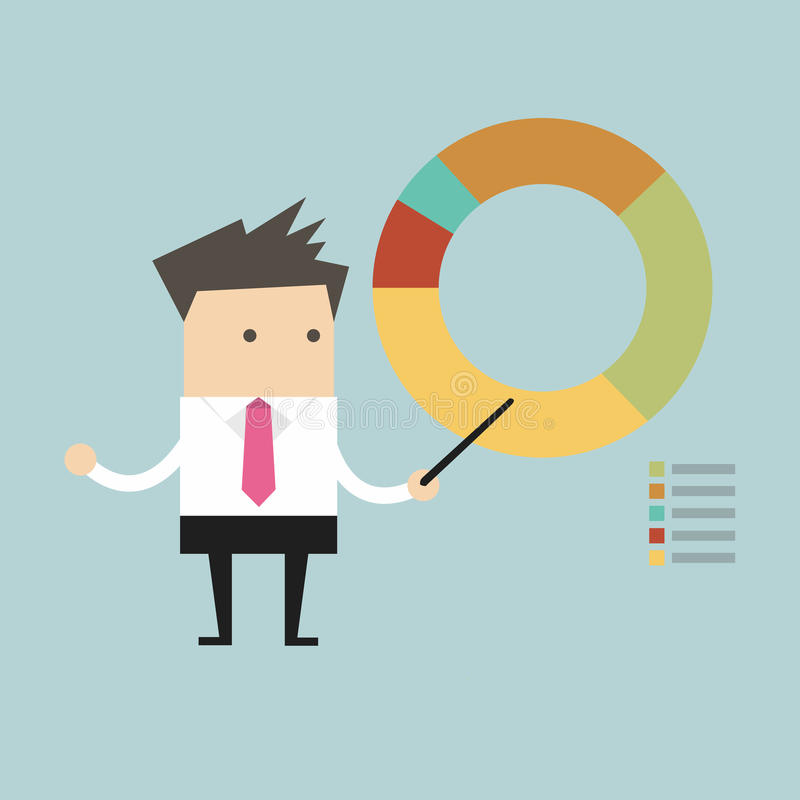 Businessman points to chart vector vector illustration