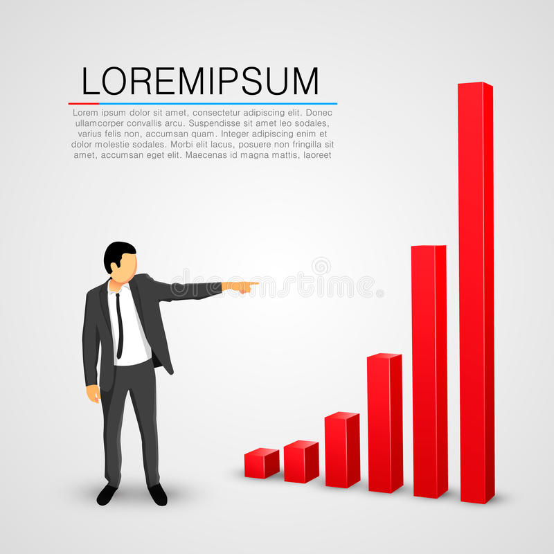 Businessman points to the growing chart royalty free illustration