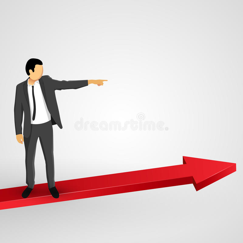 Businessman points to the growing chart stock illustration