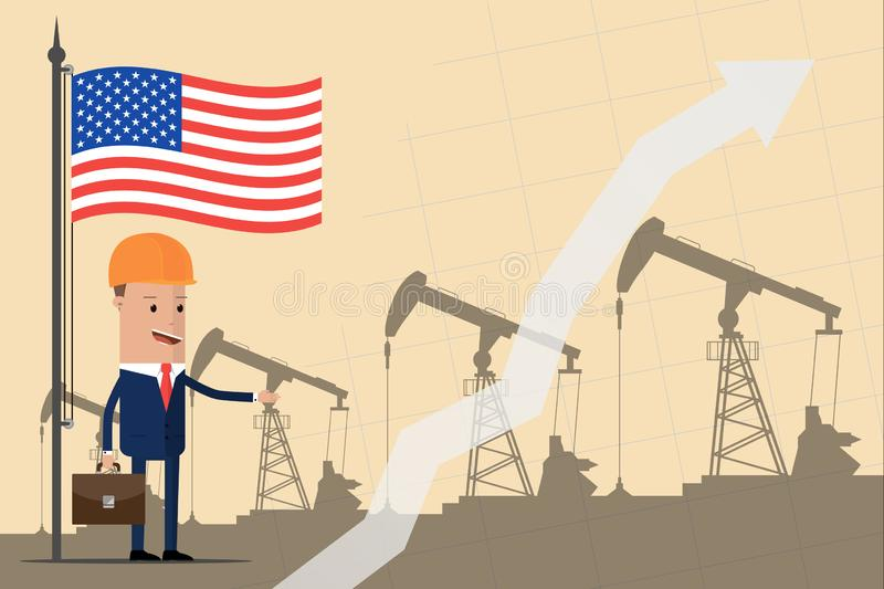 Businessman or politician in a helmet under the American flag against the backdrop of oil pumps. Growth of profits from the oil in vector illustration