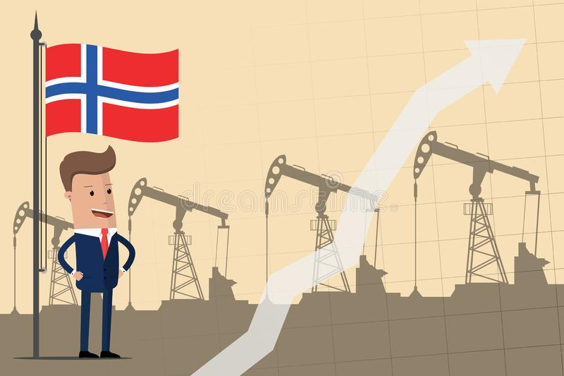 Businessman or politician under the flag of Norway against the backdrop of oil pumps. Growth of profits from the oil industry. Vec stock illustration