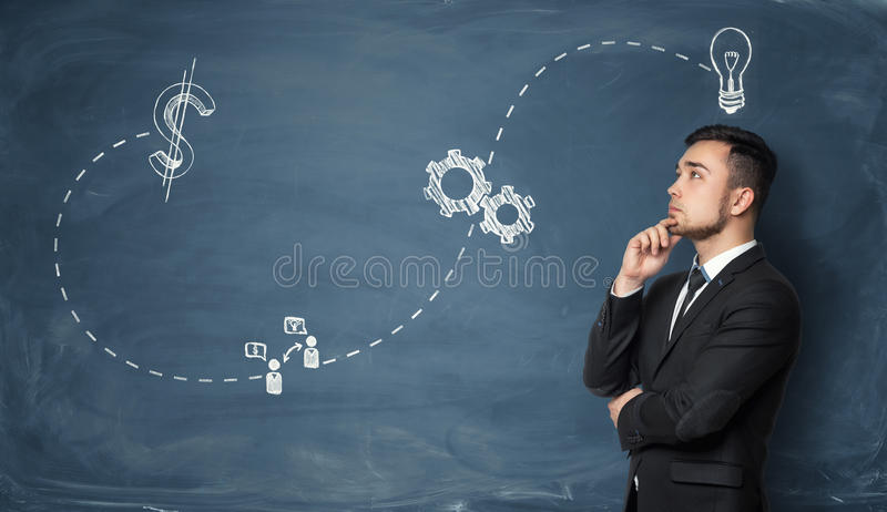 Businessman pondering on business strategy royalty free stock photos