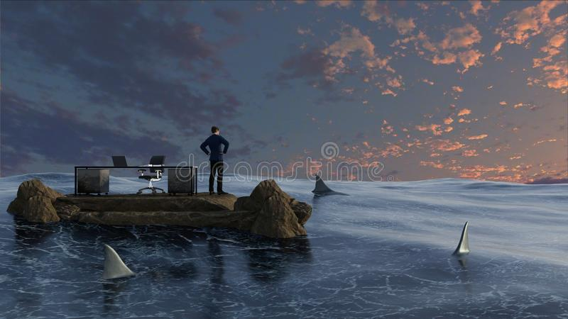 Businessman surrounded by water and sharks royalty free stock images