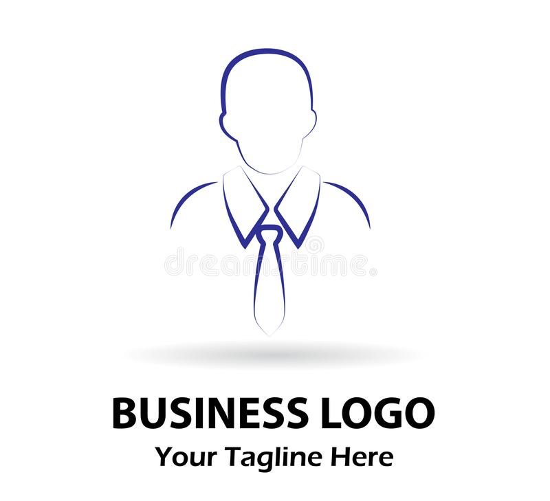 Businessman portrait line art logo, male icon stock illustration