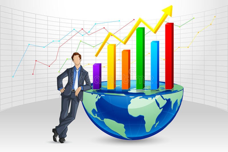 Businessman posing with Bargraph. Vector illustration of businessman posing with bargraph on Earth stock illustration