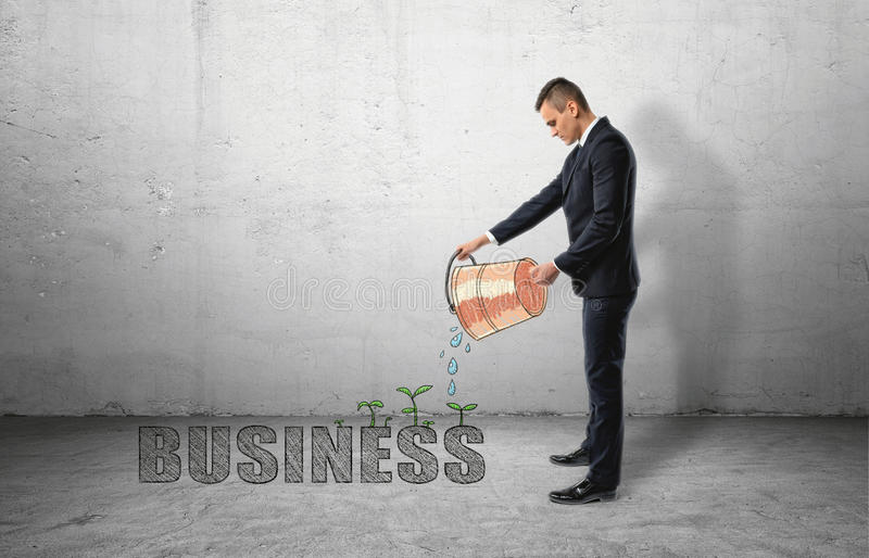 Businessman pouring water from bucket to `buisness` word with green plants royalty free stock photos