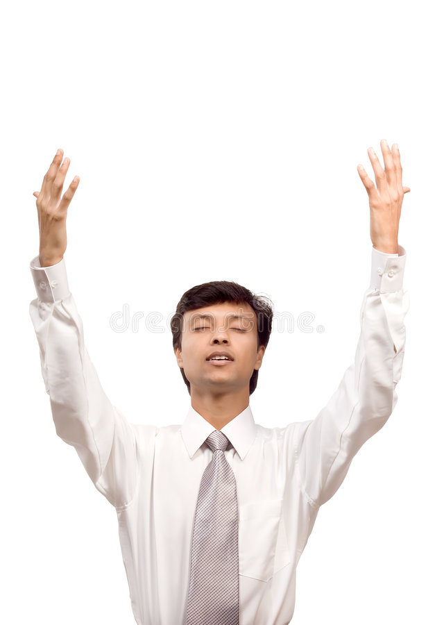 Businessman praying for help stock photos