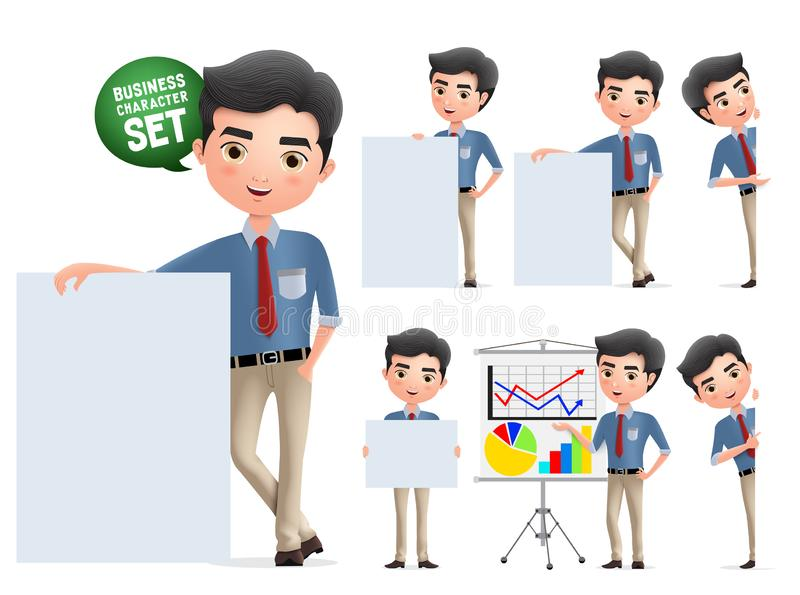 Businessman presentation characters vector set. Business man character with whiteboard presenting. vector illustration