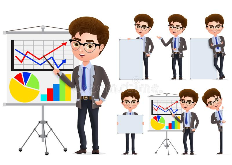 Businessman presentation vector character set. Business man characters in presentation standing. stock illustration