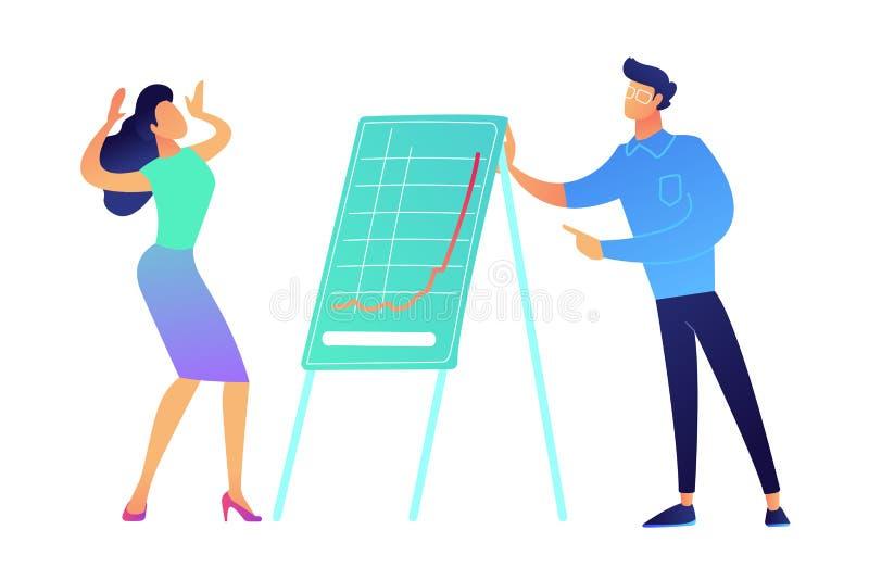 Businessman presentig growing business chart vector illustration. Businessman presentig growing business chart and woman with hands up vector illustration royalty free illustration