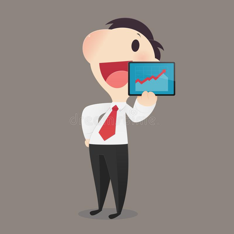 Businessman presenting business growth chart. stock illustration