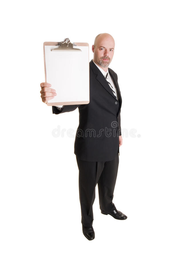 Businessman - presenting clipboard stock photo