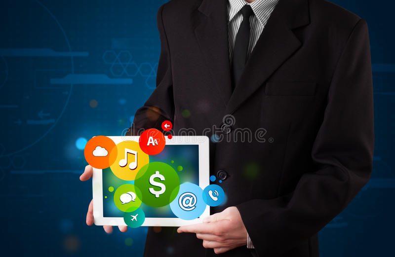 Download Businessman Presenting Colorful Modern Signs Stock Illustration - Image: 30318967