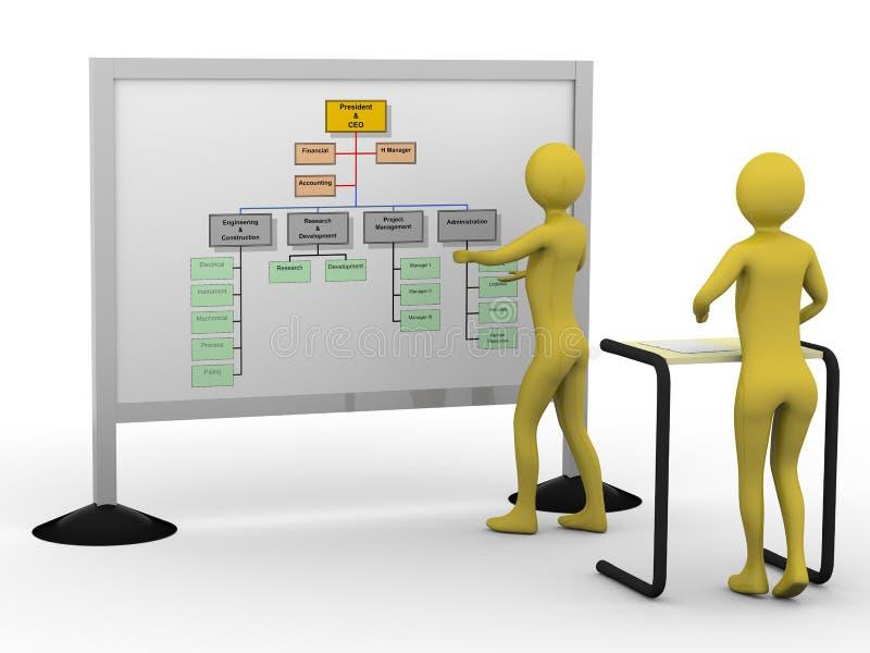 Businessman presenting diagramm. High resolution 3D render stock illustration