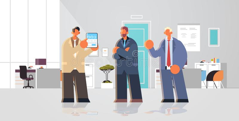 Businessman presenting financial diagram statistic data report on tablet screen to colleagues businesspeople team. Brainstorming modern office interior flat royalty free illustration