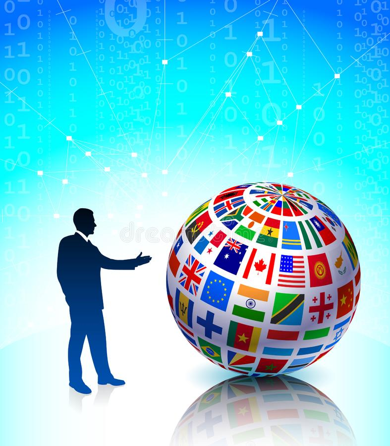Download Businessman Presenting Flags Globe Stock Illustration - Illustration of background, binary: 14271987