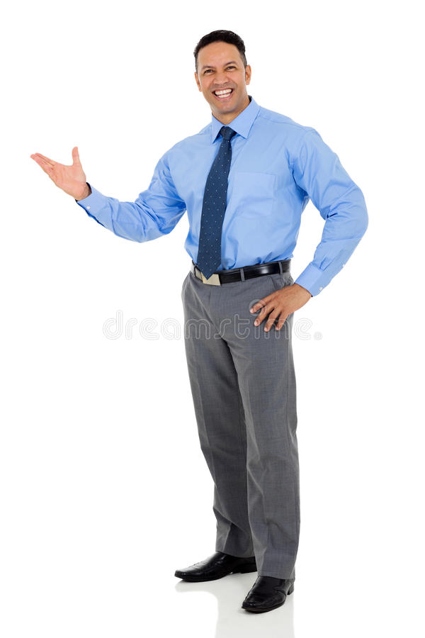 Businessman presenting stock image