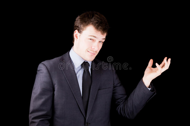 Download Businessman Presenting An Object Not Yet There Stock Image - Image: 30511045