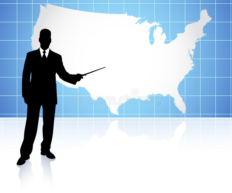 Businessman Presenting United States Of Amrica Map Stock Images