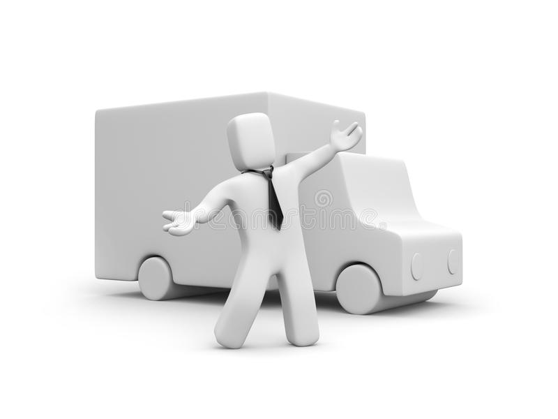Businessman Presents New Delivery Service Stock Images