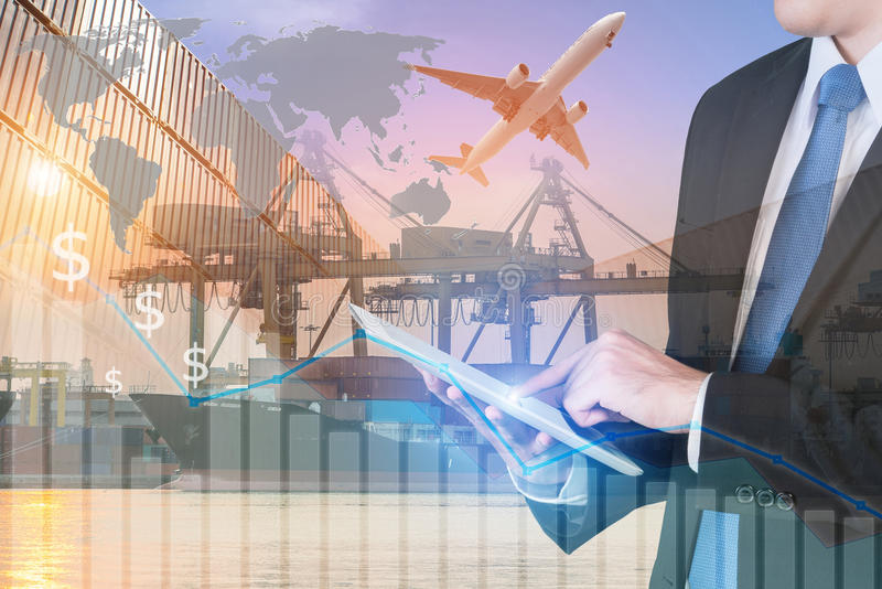 Businessman press digital tablet to show global network partners. Hip connection trade use for logistic export trade background.(Elements of this image furnished royalty free stock photos