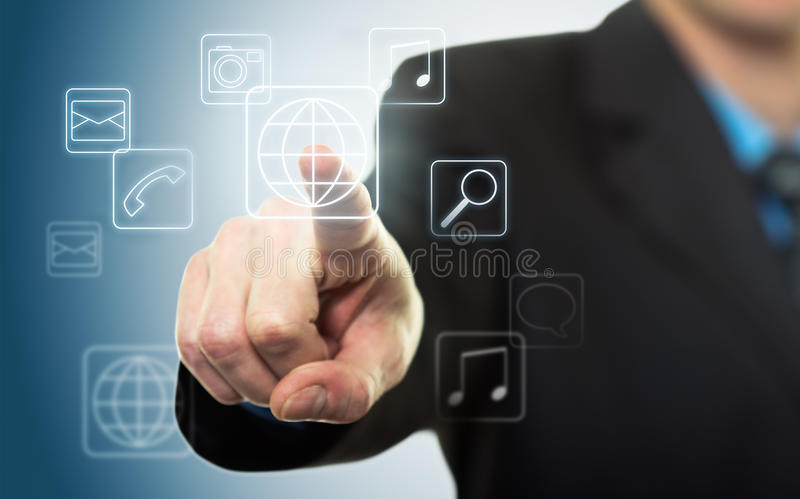 Businessman Pressing Application Button Royalty Free Stock Photo