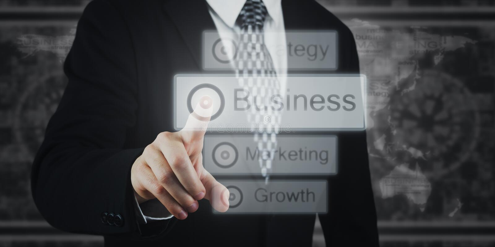 Businessman Pressing Button, Icons on Virtual Screen. Business, Marketing, Strategy stock photos