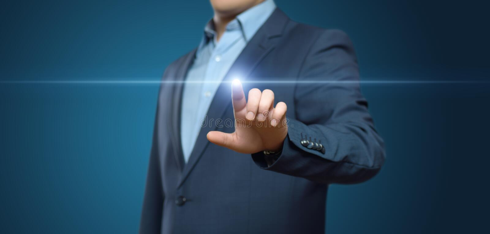 Businessman pressing button. Innovation technology internet business concept. Space for text.  royalty free stock photography